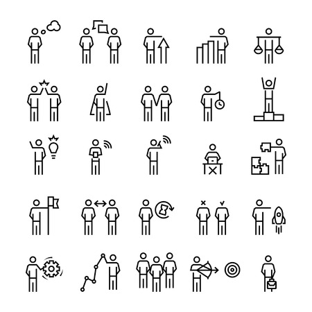 Business people, management,strategy icon set in line style.