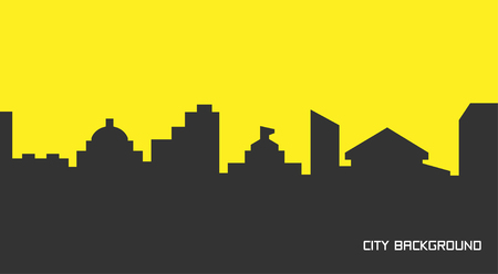 Vector illustration of silhouette city in flat style.