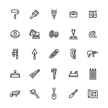 Vector icon set of construction