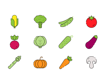 Vegetables vector icon set in flat style.