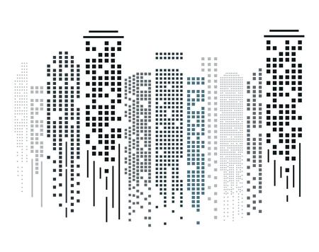 Cityscape silhouette in flat design on white background. Vector illustration.