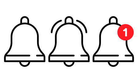 Vector icon set of notification, incoming message, ringing bell in line style. Ilustração