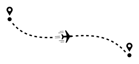 Plane with track vector illustration.