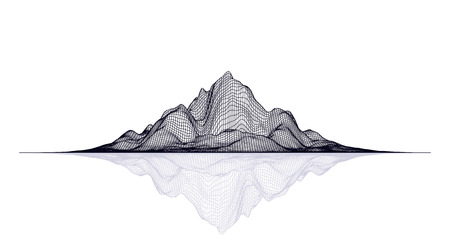 Abstract vector mesh landscape. Data visualization background