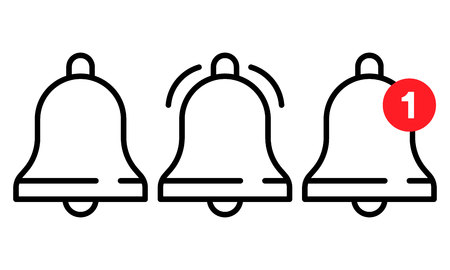Vector icon set of notification, incoming message, ringing bell in line style. Ilustrace
