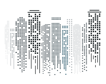 Cityscape silhouette in flat design on white background. Vector illustration.