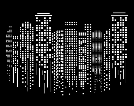 Cityscape silhouette at night in flat design. Vector Illustration Ilustração