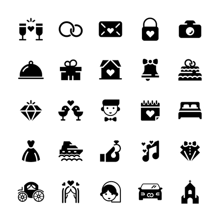 Wedding vector icon set in flat style. Çizim