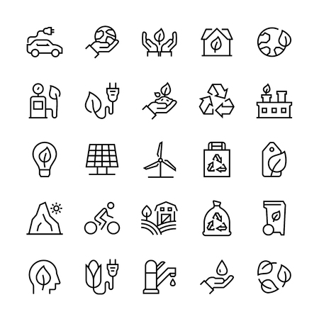 Vector icon set of ecology in line style. Ilustração