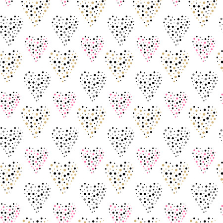 Valentines Day seamless pattern with hearts. Vector illustration. Ilustração