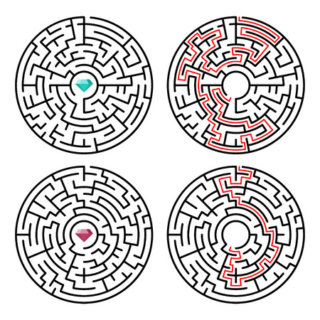 Vector illustration of maze labyrinth with diamond in flat style. 일러스트