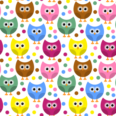 Vector seamless pattern with owls. 일러스트