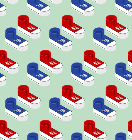 Seamless pattern with sneaker shoe, trainers in isometric style.