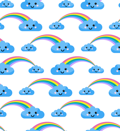 Vector seamless pattern with rainbow and clouds. Ilustração