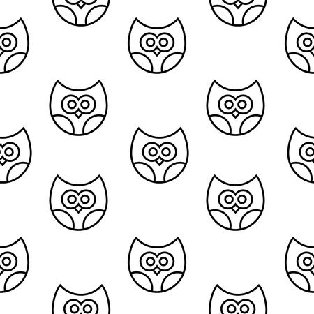 Vector seamless pattern with owls in line style.