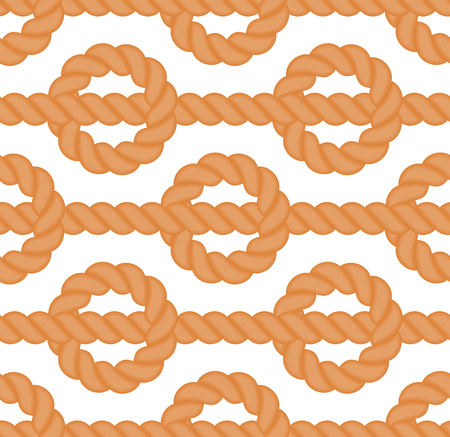 Seamless vector pattern of rope in flat style.