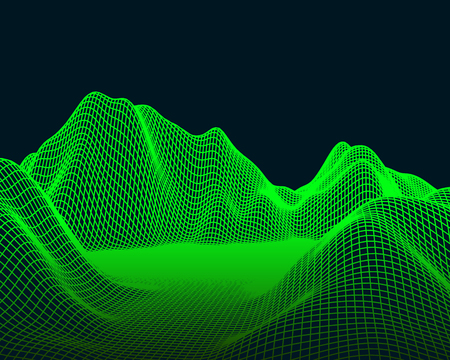 Abstract vector mesh landscape. Cyberspace grid. Data visualization background.