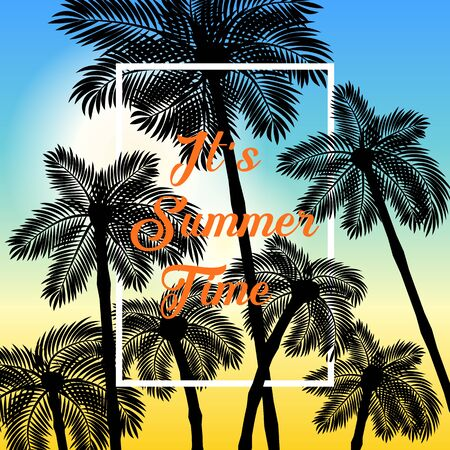 Colorful vector poster. Illustration of palm, summer background. Eps10 Stock Illustratie