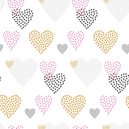 Valentines Day seamless pattern with hearts. Vector illustration. Stock Illustratie