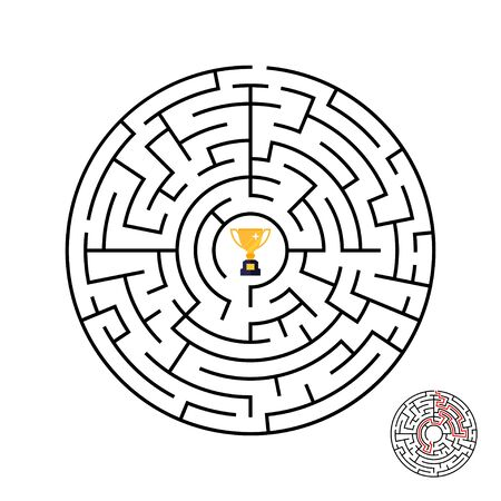 Vector illustration of maze labyrinth with award in flat style. 스톡 콘텐츠 - 131925252
