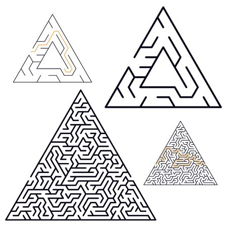 Vector illustration of maze labyrinth in flat style. Stock Illustratie