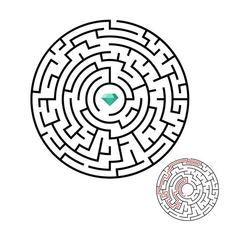 Vector illustration of maze labyrinth with diamond in flat style. 스톡 콘텐츠 - 131923332