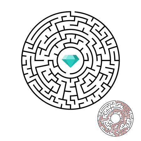 Vector illustration of maze labyrinth with diamond in flat style. Stock Illustratie