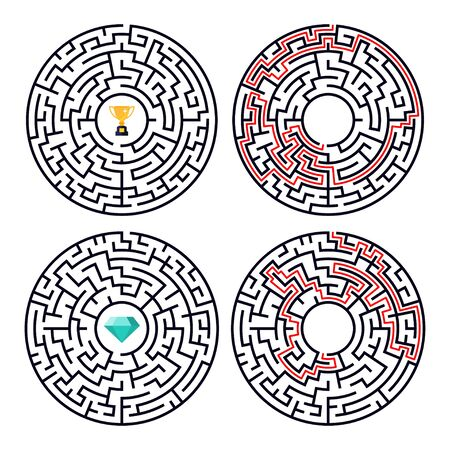 Vector illustration of maze labyrinth with award in flat style. 스톡 콘텐츠 - 131923352