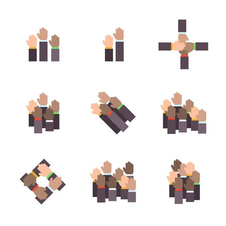 Vector set of hands in flat design style. 向量圖像