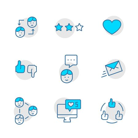 Vector set icon of social networks in thin line style. Illustration