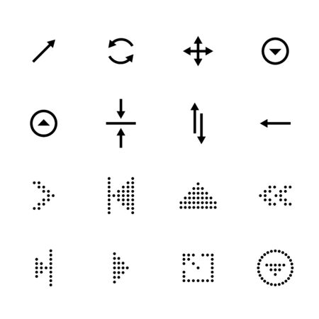 Black arrows icon set, pointers for navigation. Vector symbol for web design.