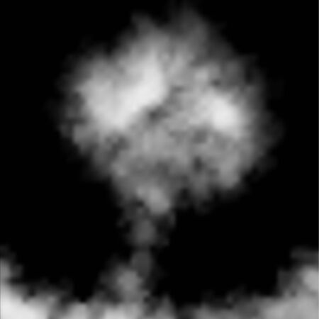 Clouds, white fog, smog on black background. Vector effect mist and smoke.