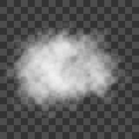 Nuages, brouillard blanc, smog sur fond transparent. Brume et fumée à effet vectoriel.