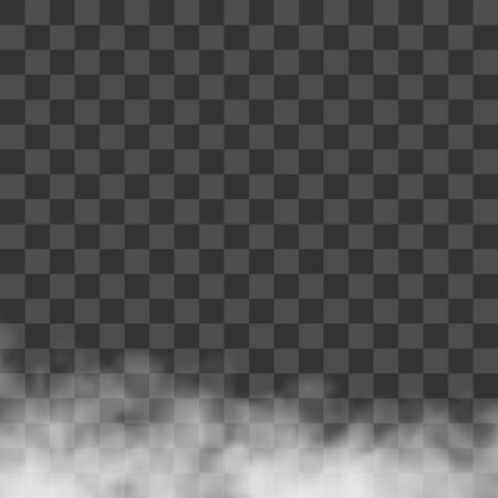 Clouds, white fog, smog on transparent background. Vector effect mist and smoke.