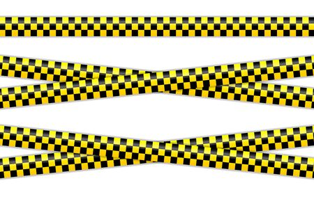Vector set of restriction tapes, police line, crime scene investigation. Collection of danger caution stripes.