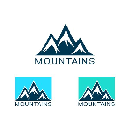 Vector logo of mountain in flat style. Icon of silhouette landscape.
