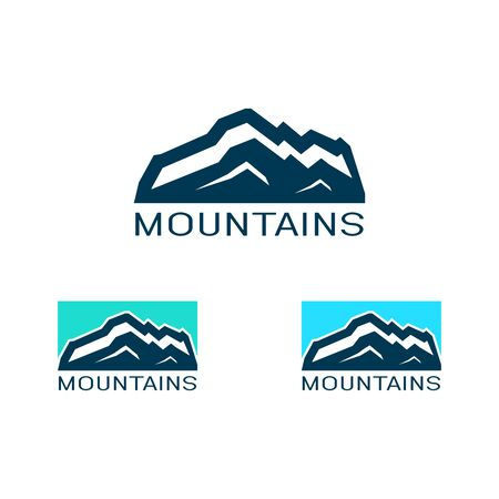Vector  of mountain in flat style. Icon of silhouette landscape.