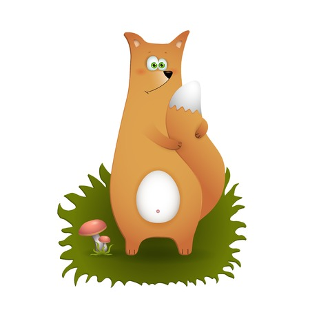 Cartoon funny fox standing on a grass, vector illustration Vector