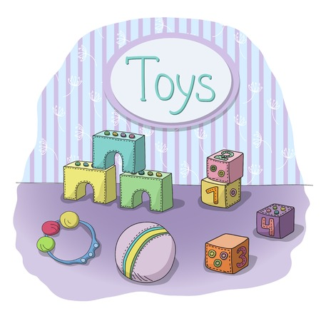 beanbag: illustration of hand drawn childrens toys in the room