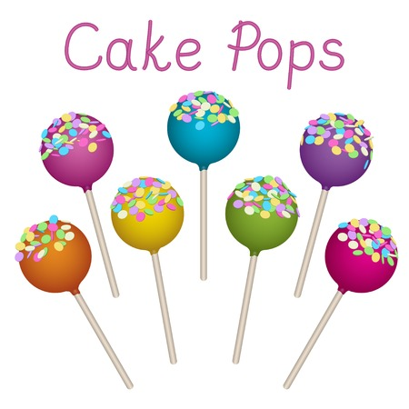 delicacy: Tasty delicacy Cake Pops Vector Illustrations Set.