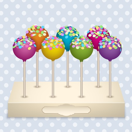 Tasty delicacy Cake Pops on a stand Vector Illustrations Set. Vector