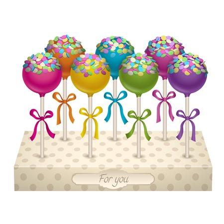 cake pops: Tasty delicacy Cake Pops Vector Illustrations Set.