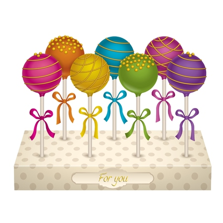 cake stand: Tasty candy on a stand. Delicacy Cake Pops with gold decoration. Vector Illustrations.