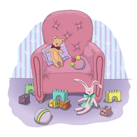 illustration of hand drawn childrens toys in the room Vector