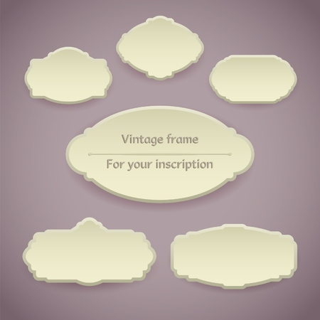 royal invitation: Set of Vintage frames in pastel colors Illustration