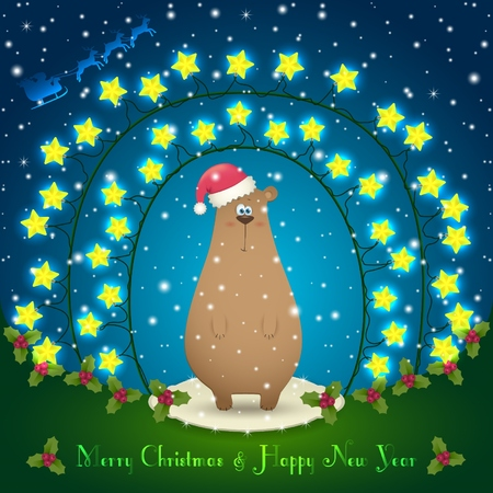 chinese holly: Illustration of bear in the Christmas decorations. Garland of stars. 2015 New Year Illustration
