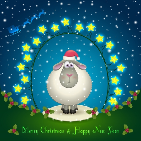 chinese holly: Illustration of sheep in the Christmas decorations. Garland of stars. Cute lamb. 2015 New Year