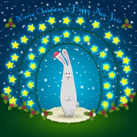chinese holly: Illustration of rabbit in the Christmas decorations. Garland of stars. 2015 New Year Illustration