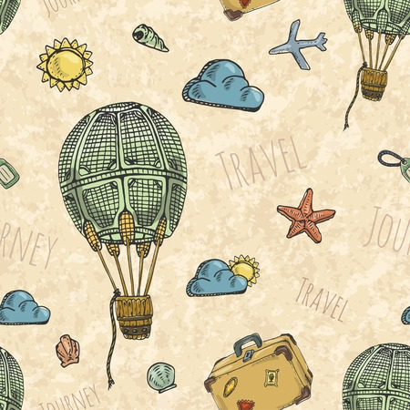 Seamless background pattern with air balloon. Retro style. Vector illustration. Vector