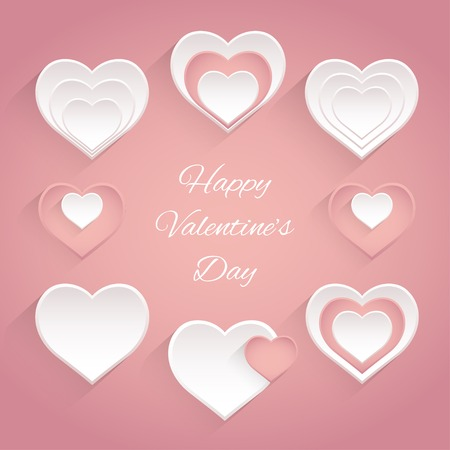 Set of heart for Valentines day. Pastel colors. Vector illustration. Vector